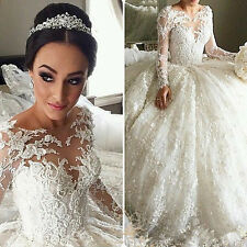 Long Sleeve Wedding Dress Lace Princess Ball Gown Wedding Dresses Custom size