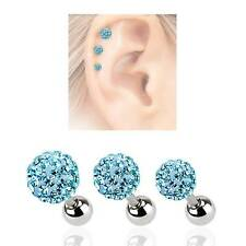 LOT 3 316L Surgical Steel Ear Cartilage Earring Ring Disco Aqua Crystal Ball 16G