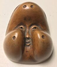 Signed; 19th C., Wooden Japanese Otafuku/Okame Netsuke Mask (Mennetsuke)