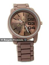 "mens big 52 mm heavy brown sports business watch designer 02 03 04 steel dial 8"""