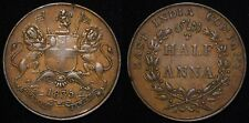 1835 India British 1/2 Anna KM# 447.1 Early Copper Coin