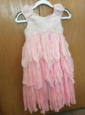 Biscotti Collezioni Girls Occasion Crinkled Pink Dress w/ Beads, size 5, EEUC.