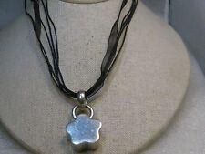 "Vintage Sterling Silver Flower Necklace, Black Multi-Strand 16"", Braided/Sheer"