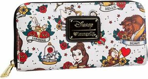 NWT Loungefly Disney Belle Beauty And The Beast Tattoo Rose Floral Wallet