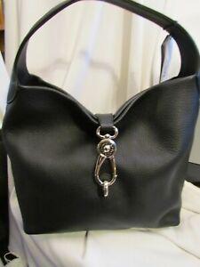 Dooney & Bourke BLACK Pebble Leather Logo Lock Hobo Shoulder Handbag $274