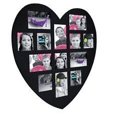 Cadre photo en bois Noir   Forme Coeur  60 x 60 cm   Pêle-mêle  13 photos
