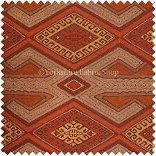 Brown Orange Red Kilim Aztec Geometric New Design Soft Texture Upholstery Fabric