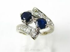 Antique 18k White Gold Natural Sapphire & Diamond Bypass Ladies Ring 5.1g M289
