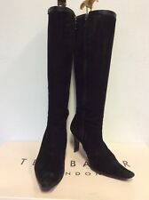 TED BAKER BANG BLACK SUEDE KNEE HIGH HEELED BOOTS SIZE 5/38 COST £130