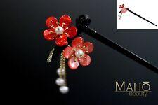 Elegant JAPANESE style KANZASHI Hairpin stick comb Kimono Ume Plum Pink/Red