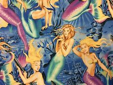 CR541 Sexy Pin Up Girl Sea Siren Mermaid Hula Ocean Neptune Cotton Quilt Fabric