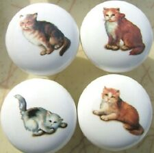 New listing Ceramic Cabinet Knobs 4 Kittens Cats
