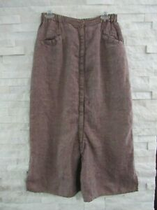 FLAX Engelhart Muted Multicolor Linen Snap Front Long Lagenlook Skirt S