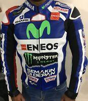 Yamaha Movistar Motogp Jorge Lorenzo Motorbike Racing Genuine Leather Jacket