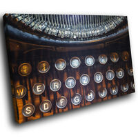 AB570 Black Retro Typewriter Modern Abstract Canvas Wall Art Large Picture Print