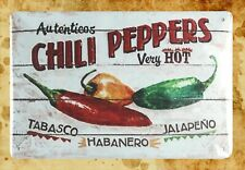 shop wall decor Autentieos Chili Peppers very hot tin metal sign