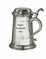 NEW Personalised 1 Pint Balmoral Lidded Pewter Tankard Any Message Engraved
