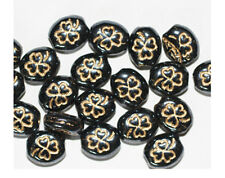 Gilded Shiny Gray Clover Czech Pressed Glass Beads  (pack of 20)