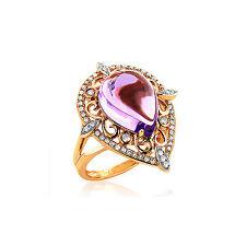 Amethyst 4,90 Karat Ring Diamanten 585 Gelbgold Brillanten 0,35 Karat Wesselton