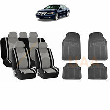 13PC GRAY MESH AIRBAG SEAT COVERS SPLIT BENCH & BL RUBBER MATS FOR CARS 3044