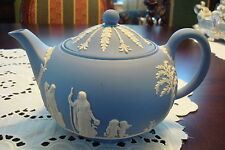 "Wedgwood England Blue & White Jasperware Teapot, 5 1/4"" [a*4whitbx]"