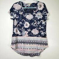 World Unity Women's Top Large L Blue Floral Short Sleeve