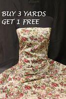 Cream Pink Large Rose Flowers 100% Cotton Print Dress Craft Fabric Material