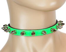 Fetish Rave Cyber Collar Necklace Green Neon Spike Choker Punk Gothic