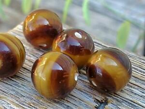 Lovely Vintage Glass Brown Beads Lampwork Blonde Band Unique DIY Jewelry Making