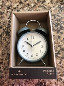 Newgate Twin Bell Alarm Clock, Green - Vintage British Design