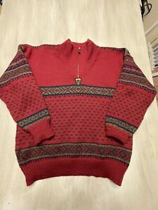 DALE OF NORWAY Sport Nordic Fair Isle Wool Sweater Ski Mens Small 1/2 Zip Heavy