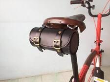 Genuine Leather Bicycle Saddle Bag,Tool Bag,Vintage,Brooks,Brompton(Black)