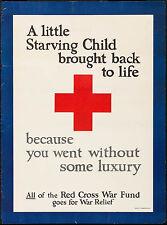 "World War I Propaganda 1917 Second War Fund Red Cross Poster 20.5""x27.5"""