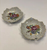"Berkshire Fine China 5"" Set of Two Leaf Shaped Candy Dish Plates Made in Japan"