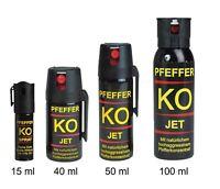 NEU Pfefferspray JET Sprühstrahl Ballistol KO 15 40 50 100 ml Tierabwehr Reizgas