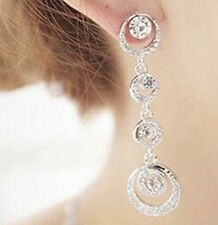 Earring Boho Festival Party Boutique Uk Silver Round Bling Long Luxury Fashion