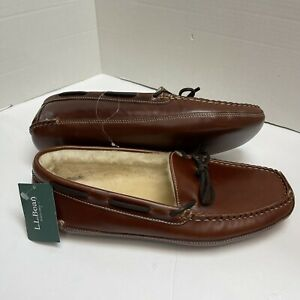 LL Bean Men's Sz 13 Brown Leather Slipper Lined Shearling Double Sole Moccasins