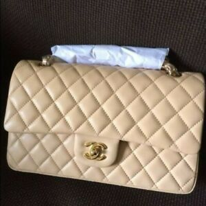 CHANEL Classic Double Flap Medium Chain Shoulder Bag  Beige Lambskin