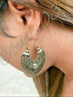 Aztec Moroccan Boho Bohemian Gypsy Goddess heart Hoop Tribal Ethnic earrings
