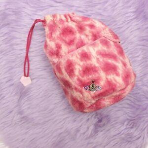 Vivienne Westwood towelling towel pink leopard orb handbag bag fluffy drawstring