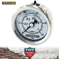 "Aeroflow White 0 - 15 PSI Liquid Filled Carb Fuel or Oil Pressure Gauge 1/8"" NPT"