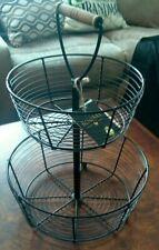 "New listing 2 Tier 16"" Black Metal Wire Fruit Vegetable Basket Bowl ~ Display Bombay"