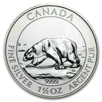 2013 1.5 oz Canada Silver Polar Bear Coin (BU) with Light Spotting