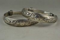 China Collectible Decorate Old Tibet Silver Carve Dragon Phoenix Pair Bracelet