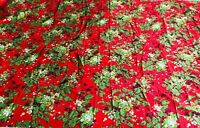 "Vintage Vibrant 1960s Christmas Fabric 71"" x 50"" Holly Berry Red Green"