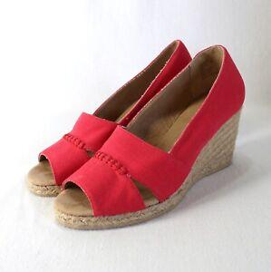 GH Bass & Co Andi Espadrille Heels Womens 8 Red Peep Toe Canvas Slip On