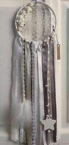 "Medium 6"" Grey Dream Catcher Ribbon Lace Vintage Boho Dreamcatcher Star 🐭"