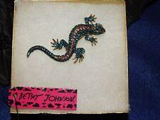 Betsey Johnson Lizard Blue Green Brooch Pin Crystal With Gift Box Bag Nwt