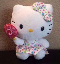 """6"""" Sanrio TY Hello Kitty Stuffed Plush in Polka Dots Dress Lollipop Lollypop"""