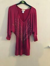 Pink patterned bat wing tunic top size XS